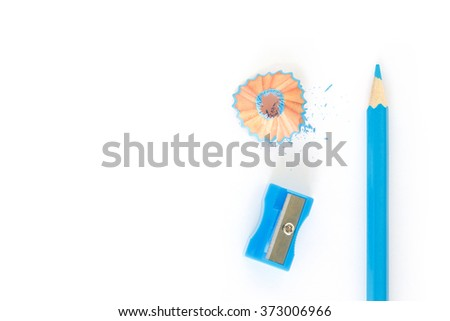 pencils , sharpener shave blue drawing on white background - stock photo
