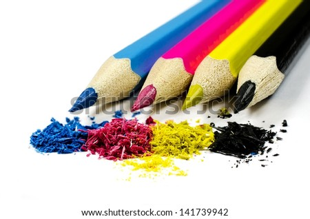 Pencils with chip (toner) in CMYK, isolated on a white background - stock photo
