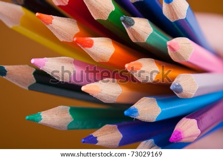 Pencils with rainbow colours. Artistic selective focus. Isolated on white background. - stock photo