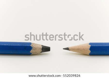 Pencils with two different thick and thin