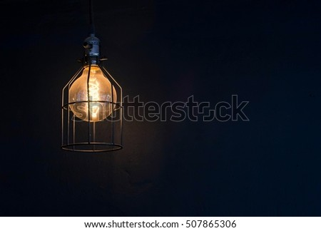 Pendant Lighting,lamp bulb or lantern on black background,Leave space for text