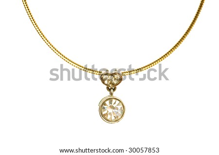 Pendant on golden chain isolated on the white