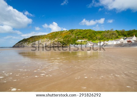 Pendine Sands  a 7 mile length of beach on the shores of Carmarthen Bay Wales UK Europe - stock photo