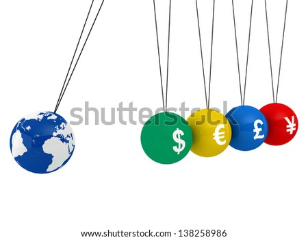 Pendulum of 3D spheres with globe and the currency - symbolizes the impact of the global economy to changes in exchange rates  - stock photo