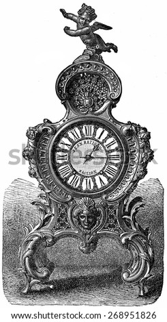 Pendulum of rococo style, vintage engraved illustration. Industrial encyclopedia E.-O. Lami - 1875.