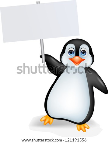 Penguin with blank sign - stock photo