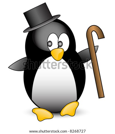 Penguin with top hat and walking stick.