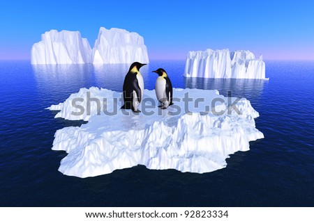 Penguins on an iceberg in the sea.