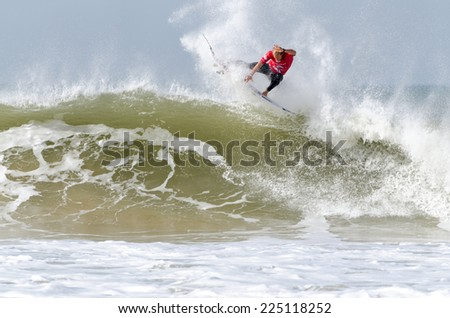 PENICHE, PORTUGAL - OCTOBER 19, 2014: Adam Melling (AUS) during the Moche Rip Curl Pro Portugal, Men's World Championship Tour #10. - stock photo