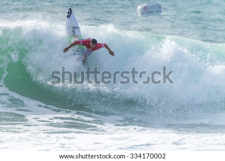 PENICHE, PORTUGAL - OCTOBER 30, 2015: Italo Ferreira (BRA) during the Moche Rip Curl Pro Portugal, Men's Samsung Galaxy Championship Tour #10.