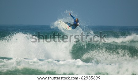 PENICHE, PORTUGAL - OCTOBER 13 : Kelly Slater (USA) in Rip Curl Pro 2010 round 4 October 13, 2010 in Peniche, Portugal - stock photo