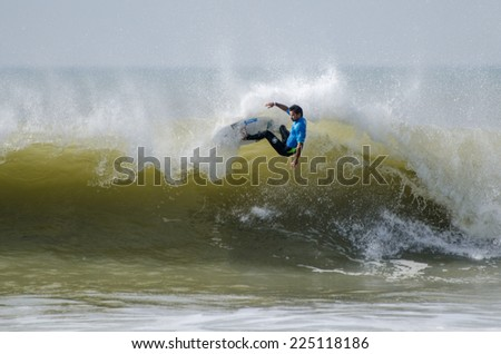 PENICHE, PORTUGAL - OCTOBER 19, 2014: Michel Bourez (PYF) during the Moche Rip Curl Pro Portugal, Men's World Championship Tour #10.