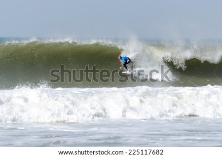 PENICHE, PORTUGAL - OCTOBER 19, 2014: Mick Fanning (AUS) during the Moche Rip Curl Pro Portugal, Men's World Championship Tour #10. - stock photo