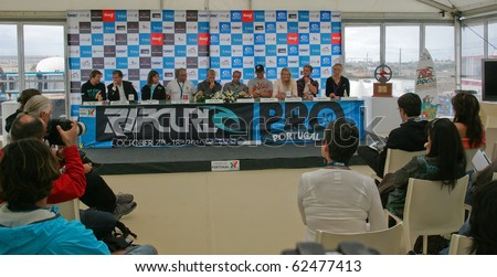 PENICHE, PORTUGAL - OCTOBER 06 : Mick Fanning, Tiago Pires, Owen Wright, Stephanie Gilmore, Marlon Lipke, Bethany Hamilton in Press Conference of Rip Curl Pro 2010 October 6, 2010 in Peniche, Portugal - stock photo