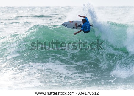 PENICHE, PORTUGAL - OCTOBER 30, 2015: Vasco Ribeiro (POR) during the Moche Rip Curl Pro Portugal, Men's Samsung Galaxy Championship Tour #10.
