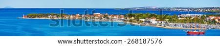 Peninsula of Puntamika in Zadar panoramic aerial view, Dalmatia, Croatia - stock photo