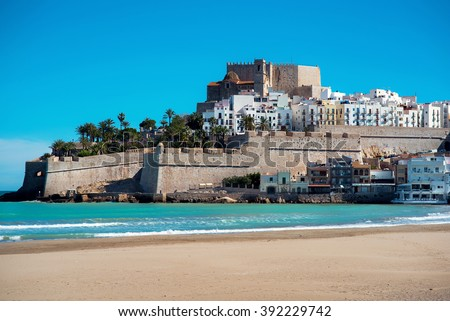 Peniscola castle, view from the beach. Costa del Azahar, province of Castellon, Valencian Community. It is a popular tourist destination in Spain