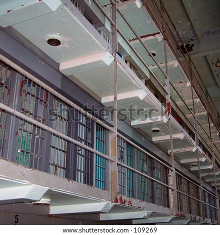 Penitentiary cellblock.  The WV State Penitentiary (now closed).  Once held Charles Manson. - stock photo