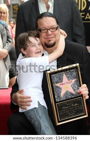 Penn Jillette and son at Penn & Teller's induction into the Hollywood Walk Of Fame, Hollywood, CA 04-05-13