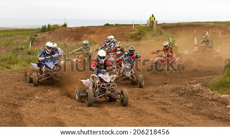 PENNAN, ABERDEENSHIRE, SCOTLAND - 13 JULY: This is a participant within the Quad Bike Round 6 Scotland Event at Pennan race track, Aberdeenshire, Scotland on 13 July 2014.