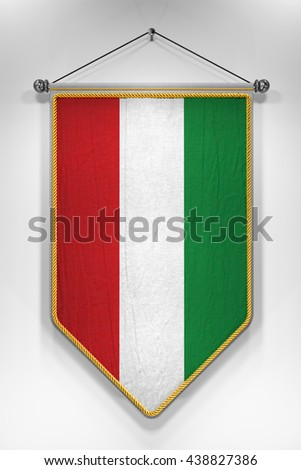 Pennant with Hungarian flag. 3D illustration with highly detailed texture. - stock photo