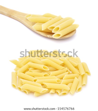 Penne pasta, isolated on white