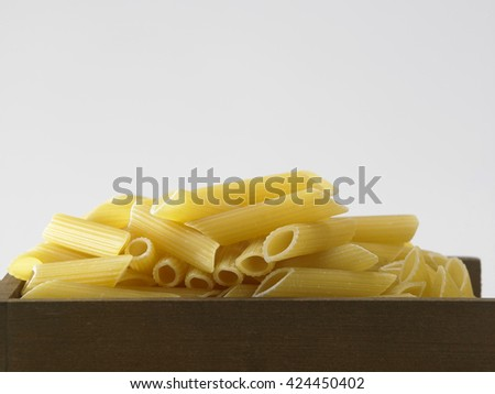 penne pasta on the white background