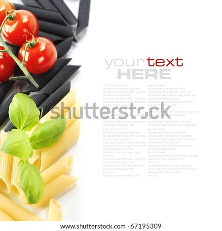 Penne, tomato and basil over white. With sample text - stock photo