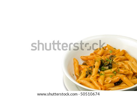 Penne  with tomato sauce and olive