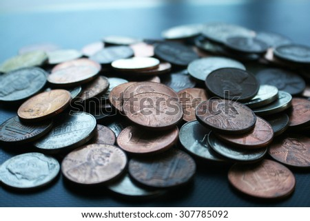 Pennies close up stock photo - stock photo