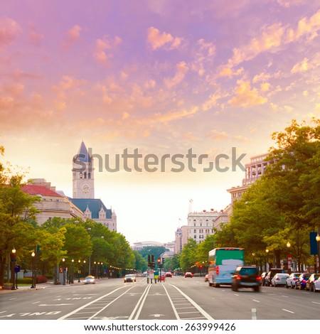 Pennsylvania Avenue sunset in Washington DC USA - stock photo