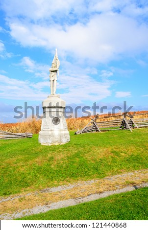 Pennsylvania Monument in Bloody Lane at Antietam National Battlefield