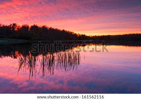 Pennsylvania Ricketts Glen State Park Lake Jean Sunset Reflection - stock photo