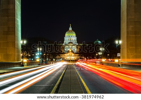 Pennsylvania State Capitol, the seat of government for the U.S. state of Pennsylvania, located in Harrisburg - stock photo