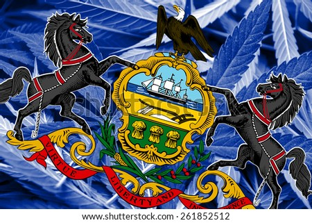 Pennsylvania State Flag on cannabis background. Drug policy. Legalization of marijuana - stock photo