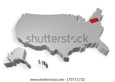 Pennsylvania state on Map of USA 3d model on white background