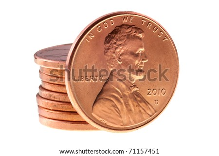 penny in front of a stack of pennies - stock photo