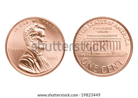penny macro both sides, one American cent coin isolated on white - stock photo
