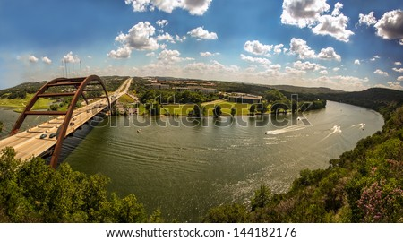 Pennybacker Bridge in Austin, Texas - stock photo