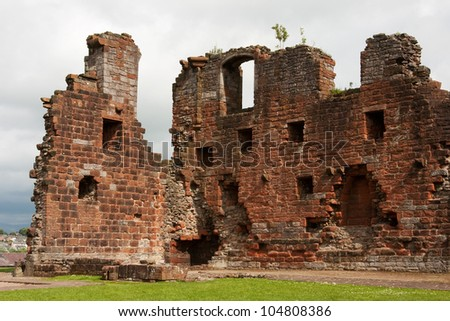 Penrith Castle.  The castle is situated in a public park in Penrith, Cumbria, northern England and was built at the end of the 14th century to defend the area from invasion by Scottish invaders. - stock photo