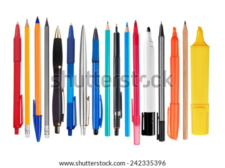 Pens and pencils on white background - stock photo