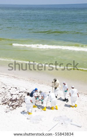 PENSACOLA BEACH - JUNE 23:  BP oil workers attempt to clean oil from the beach area on June 23, 2010 in Pensacola Beach, FL. - stock photo