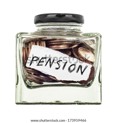 Pension, a small glass jar of coins isolated on a white background - stock photo