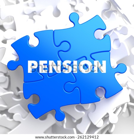 Pension on Blue Puzzle on White Background. - stock photo