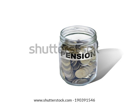 pension   savings money in jar made in 2d software - stock photo