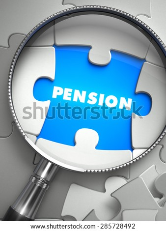 Pension through Lens on Missing Puzzle Peace. Selective Focus. 3D Render. - stock photo