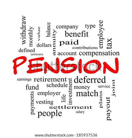 Pension Word Cloud Concept in red caps with great terms such as benefit, deferred, retirement and more.