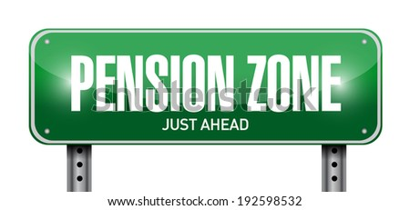 pension zone sign post illustration design over a white background - stock photo