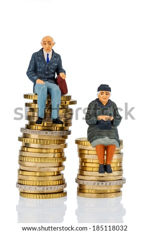 pensioners and pensioner sitting on money stack, symbol photo for retirement and inequality, - stock photo