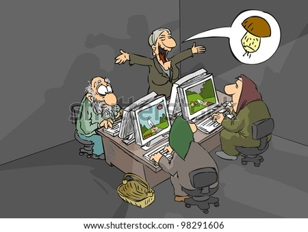 Pensioners play a computer game - mushroom gathering - stock photo